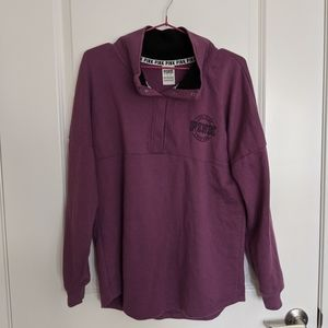 Dark purple pullover pink logo